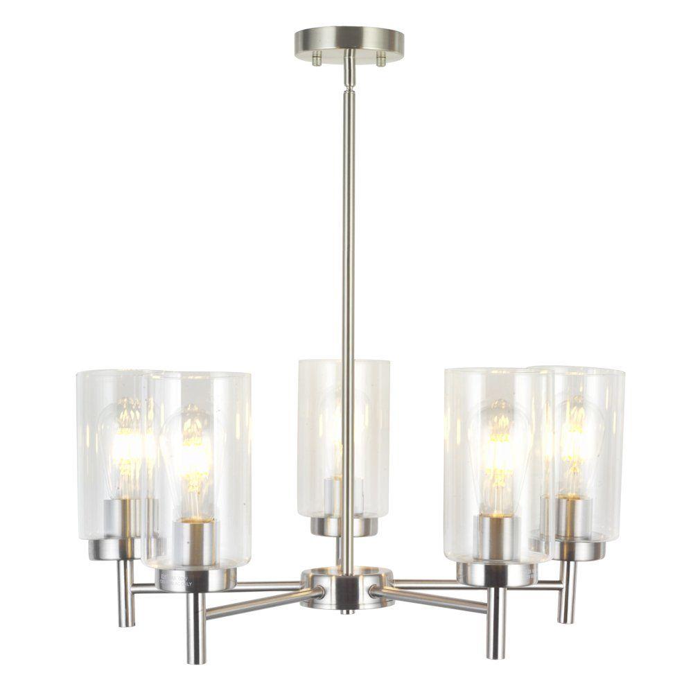 Vinluz 5 Light Chandeliers Modern Clear Glass Pendant Lighting