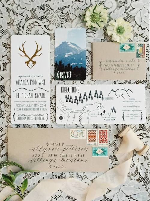 graphic design montana antler gold foil wedding paper goods