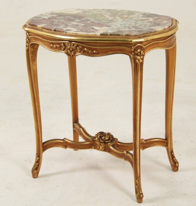 French Louis Xv Style Serpentine Marble Top Salon Table Lot 81 Marble Top Table Top Salons