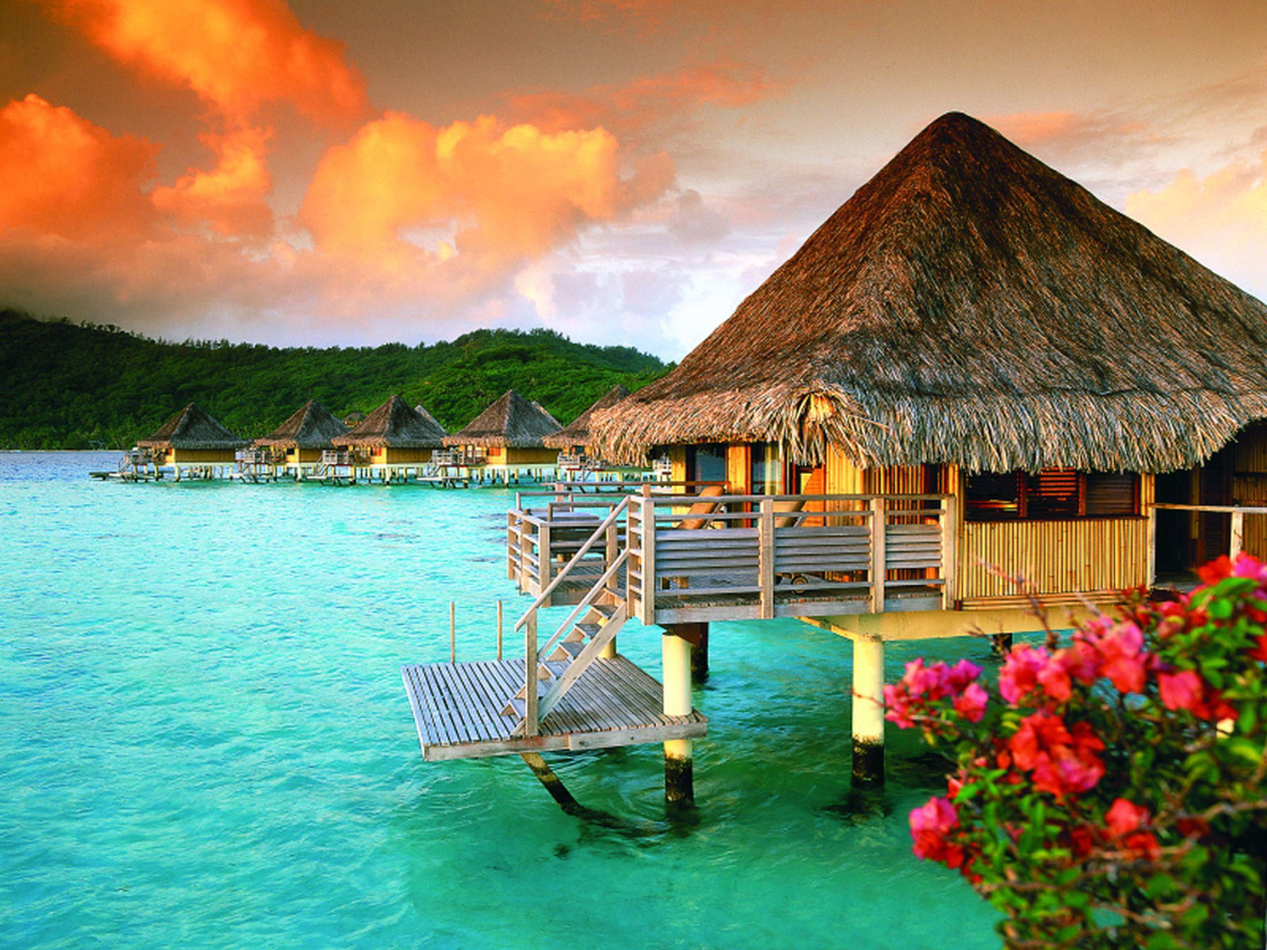The Most Beautiful Beach In Bora Bora Desktop Wallpaper Romantic Places Beautiful Places Vacation Places