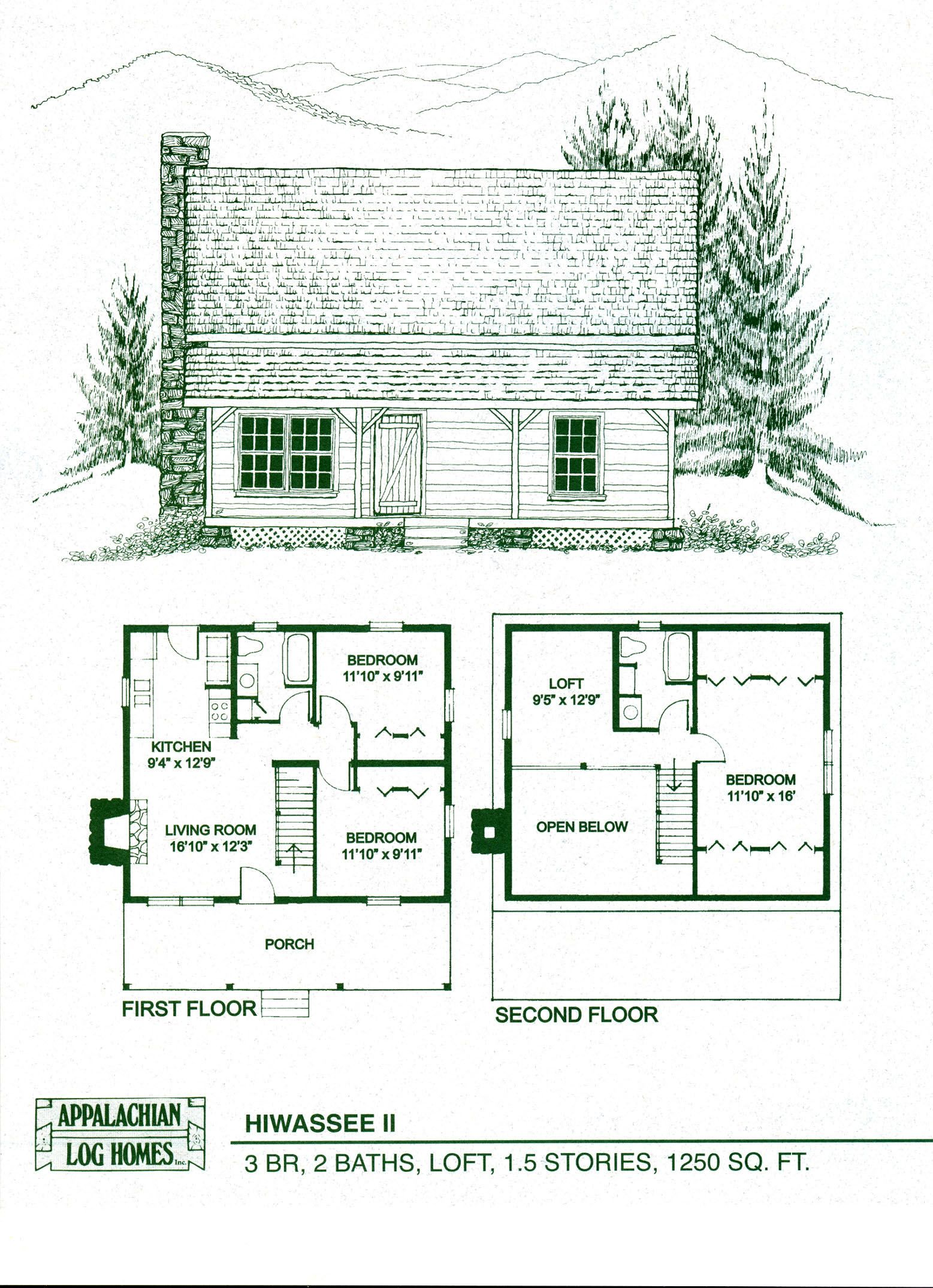 Log home floor plans log cabin kits appalachian log for Mountain cabin floor plans