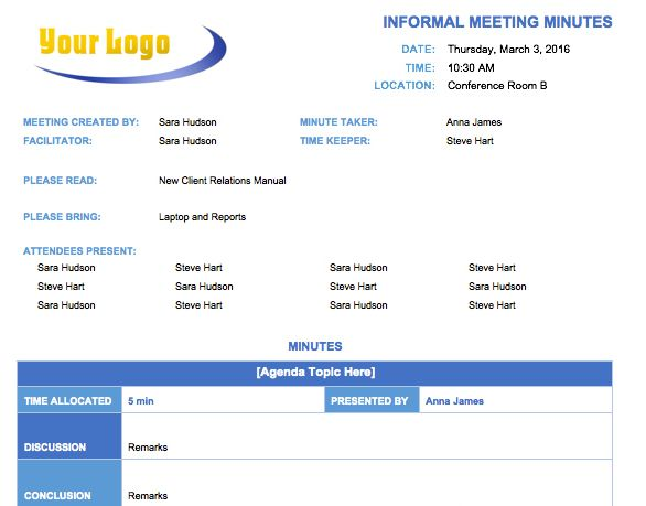 Informal Meeting Minutes Template English Pinterest - microsoft templates agenda