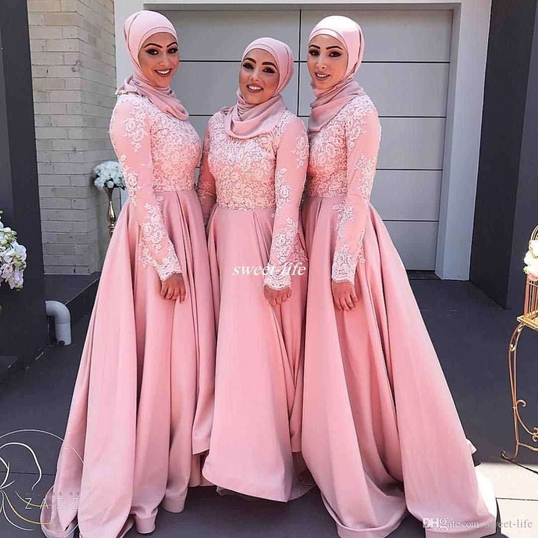 Plus size long sleeve bridesmaid dresses aline lace satin