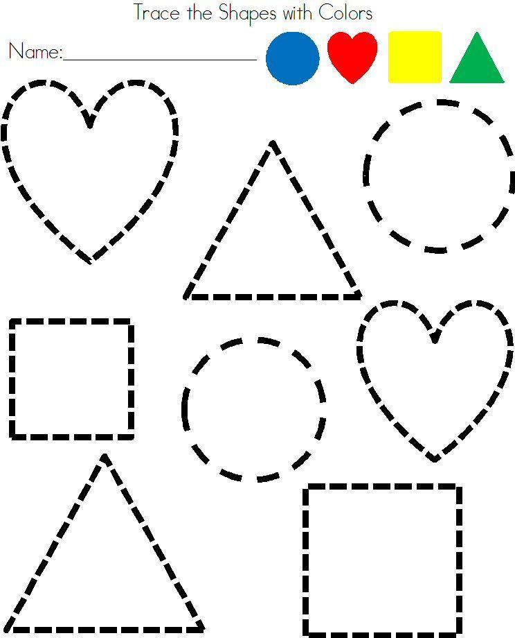Preschool Shapes Tracing Worksheet Shapes Pinterest Tracing