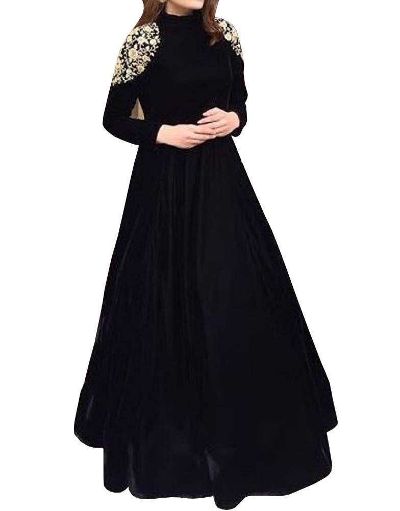 Fatimabi Floor Length Black Velvet Wedding Gown With Skirt Exclusive Design