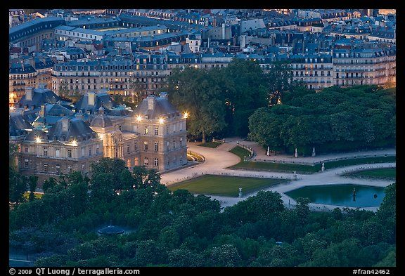 Aerial Night View Of Jardin Du Luxembourg And Senate Quartier