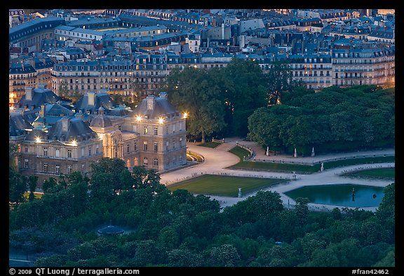 Aerial night view of Jardin du Luxembourg and Senate. Quartier Latin, Paris, France (color)