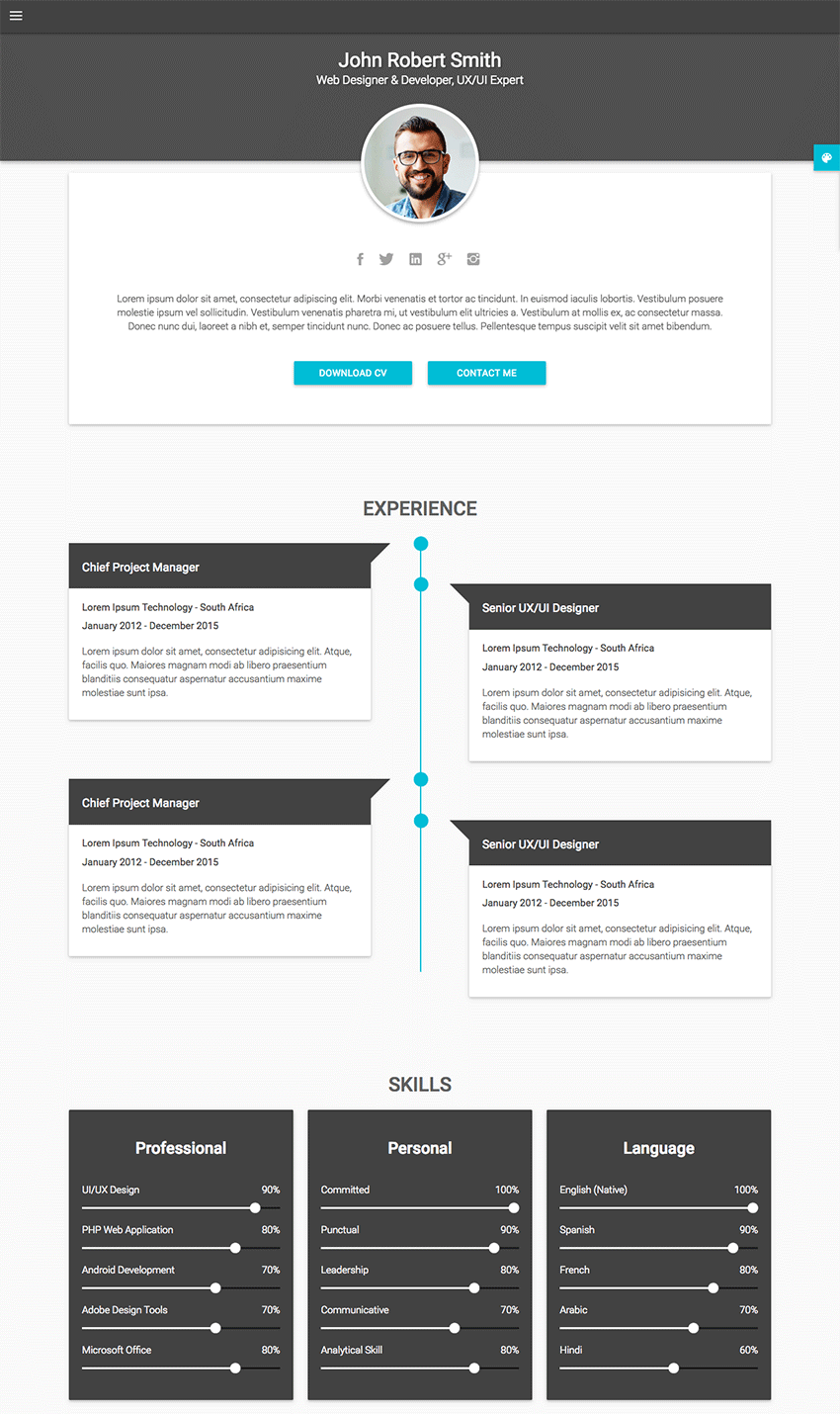 18 Best Html Resume Templates For Awesome Personal Websites 2018 Resume Template Personal Resume Resume Design Template