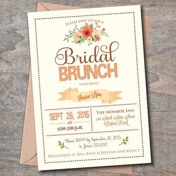 fall bridal brunch invitation bridal luncheon invitations