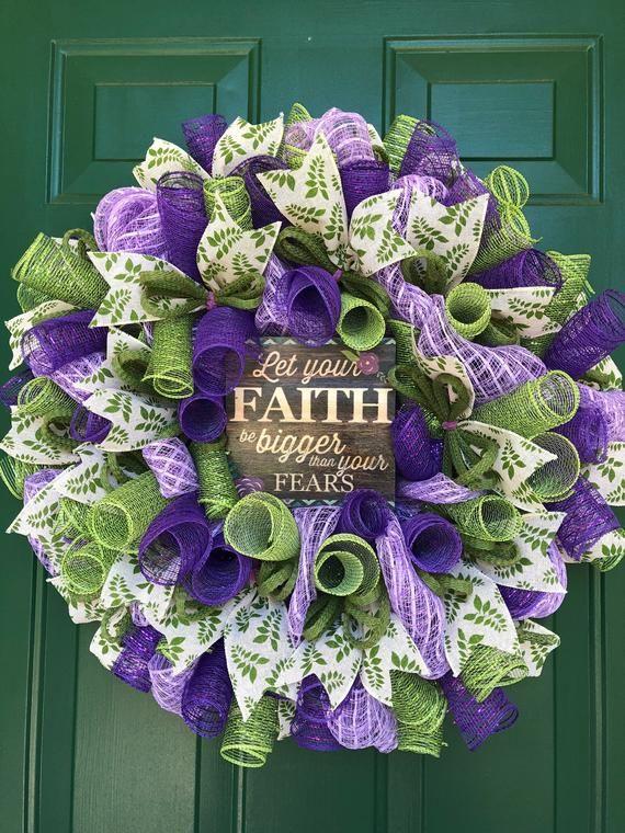 Photo of Believe Religious Wreath, Front Door Decoration, Spring Door Decoration, Everyday Door Hanger, Pastor Gift, Gail's Crafty Designs