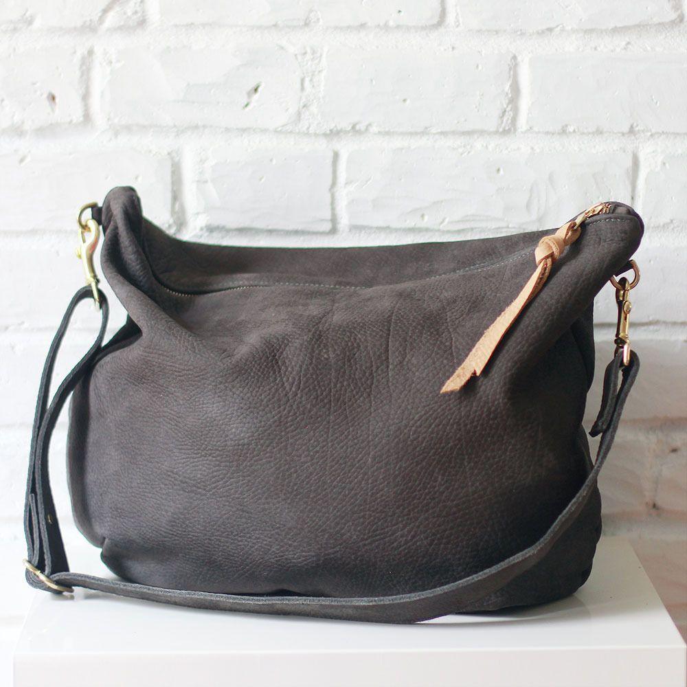 Rayen Charcoal Nubuck Leather Handbag Purse Shannon South Made In Usa