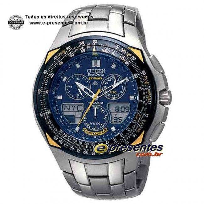 JR3090-58M Relógio Eco-Drive SKYHAWK BLUE ANGELS TITANIUM  6b1c2419a9