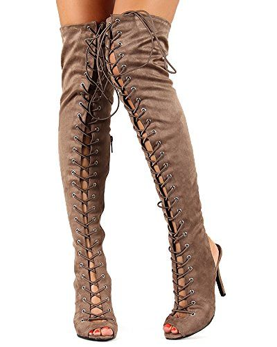 15f7fe86e Breckelles BF25 Women Suede Lace Up Back Cut Out Thigh High Boot - Taupe  (Size