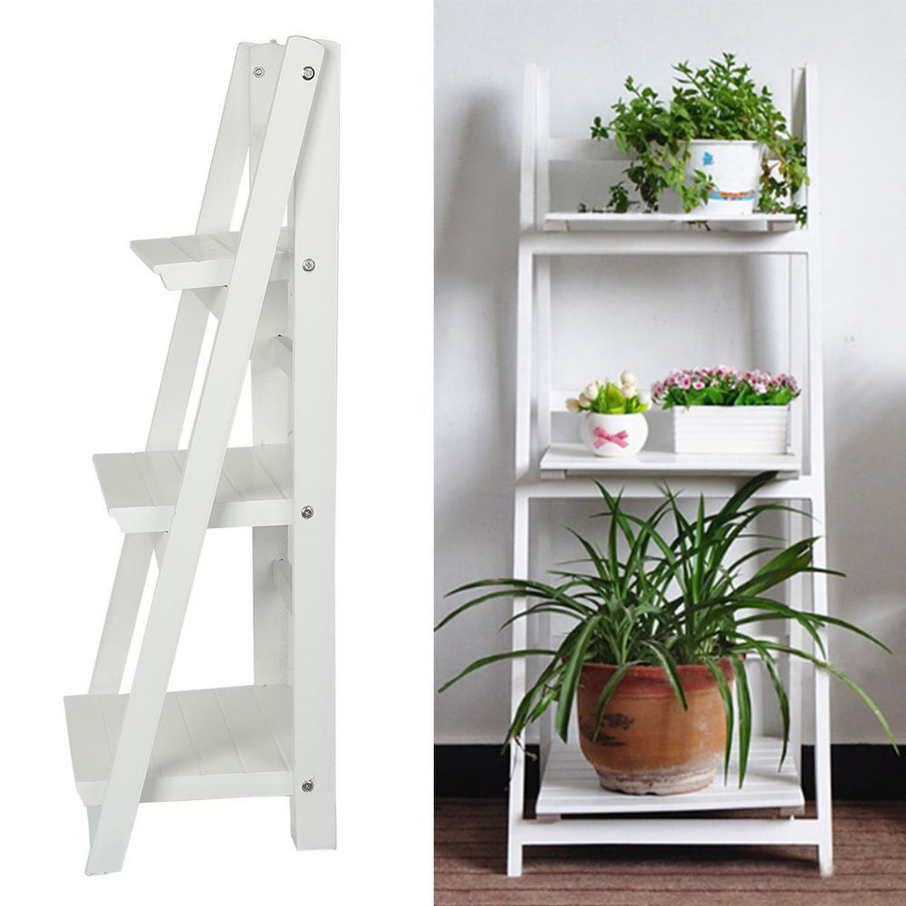3 TIER WHITE LADDER SHELF DISPLAY UNIT FOLDING RACK FLOWER POT WINE BOOK  STAND In Home
