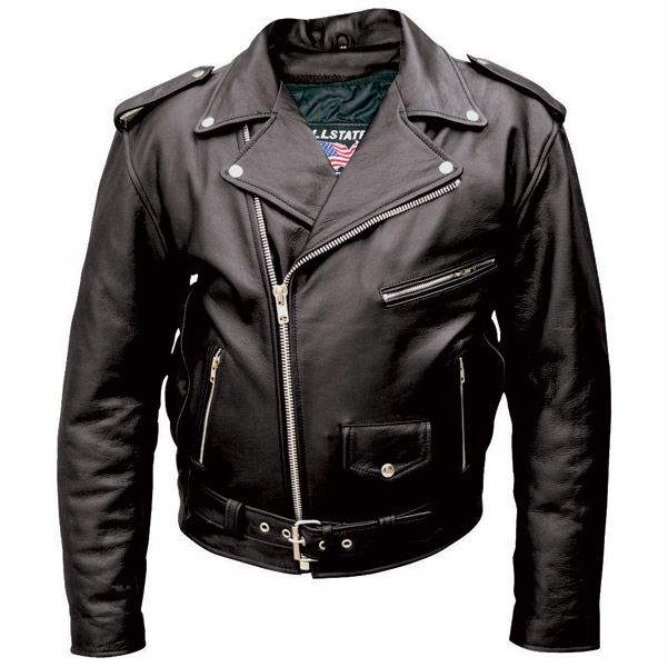 Allstate Leather Inc. Men′s Black Buffalo Leather Motorcycle ...