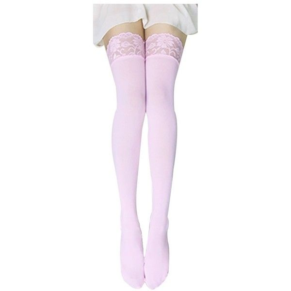 62d182f95622e FUNOC Sexy Women Lace Top Thick Opaque Thigh High Stockings (Pink) ($1.99)