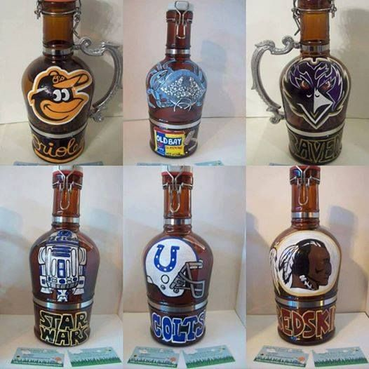 Just a few of my BuggyBean custom painted growlers! All designs are welcome! https://www.facebook.com/buggybeandesigns/