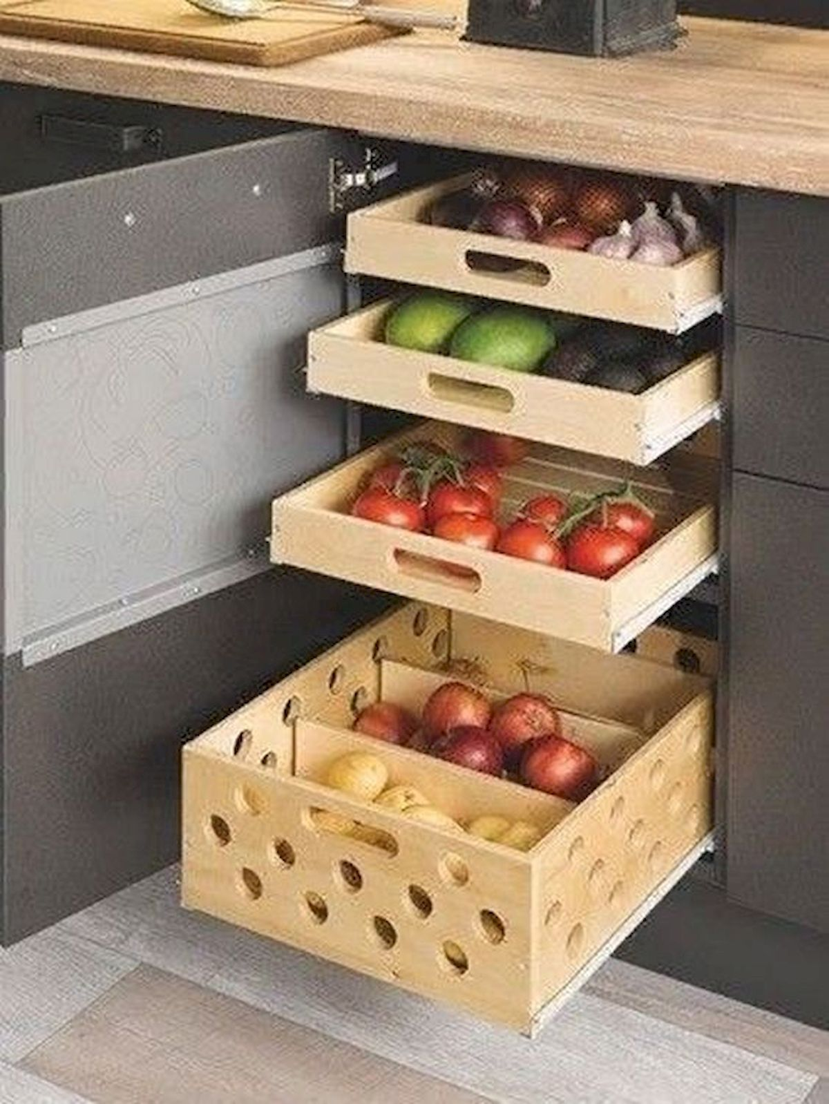 30 Best Fruit And Vegetable Storage Ideas For Your Kitchen Small Kitchen Kitchen Inspirations Kitchen Layout