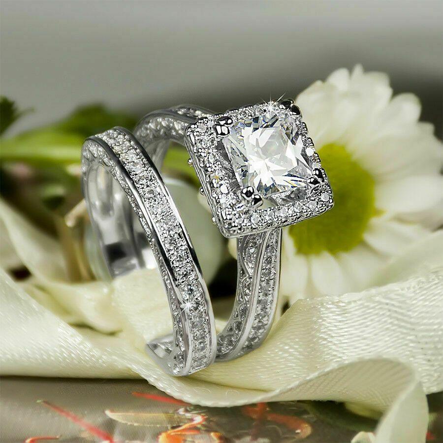 Certified 3.00Ct Round Diamond Bridal Engagement Wedding Ring Set 14K White Gold