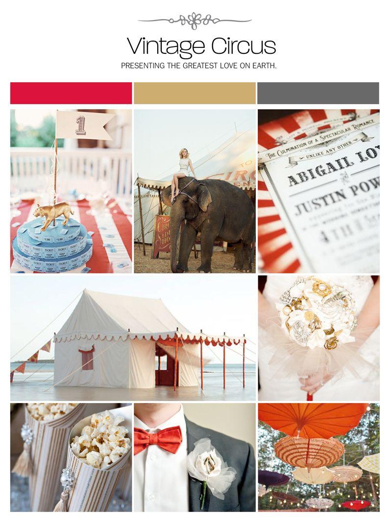 Vintage circus wedding inspiration board, color palette, mood board ...