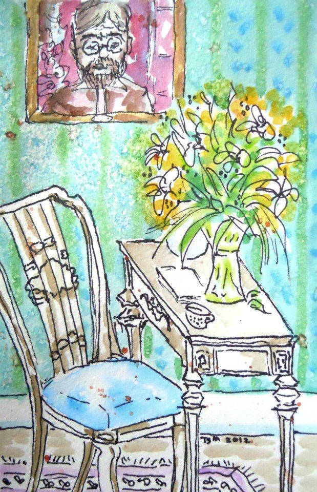 Teresa Madore original watercolor painting flowers, table, chair, portrait