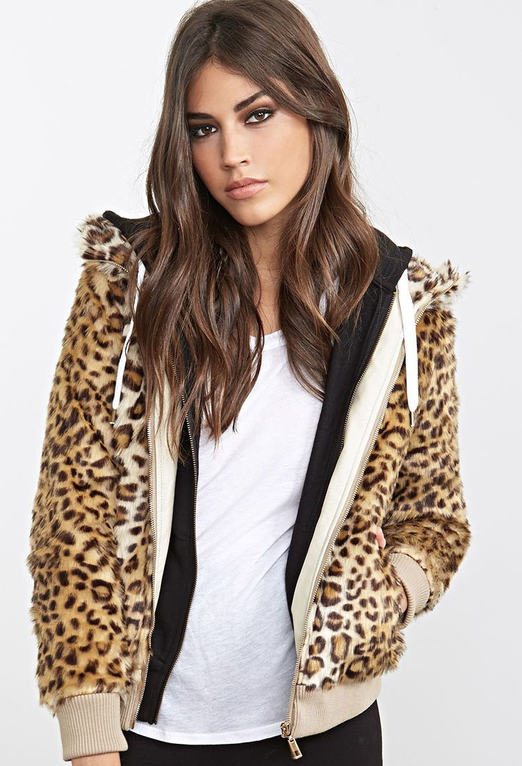 f0b3e026ff40 Hooded Leopard Faux Fur Jacket - Jackets & Coats - 2000130220 - Forever 21  UK