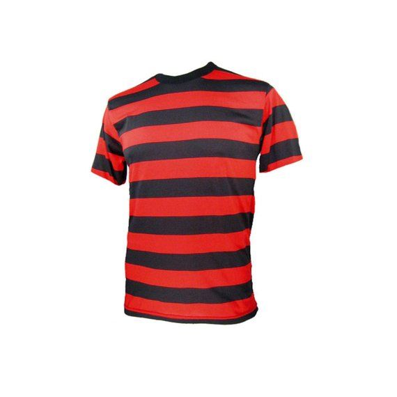 bec168aa210 Men s SHORT Sleeve Black   Red Striped Shirt