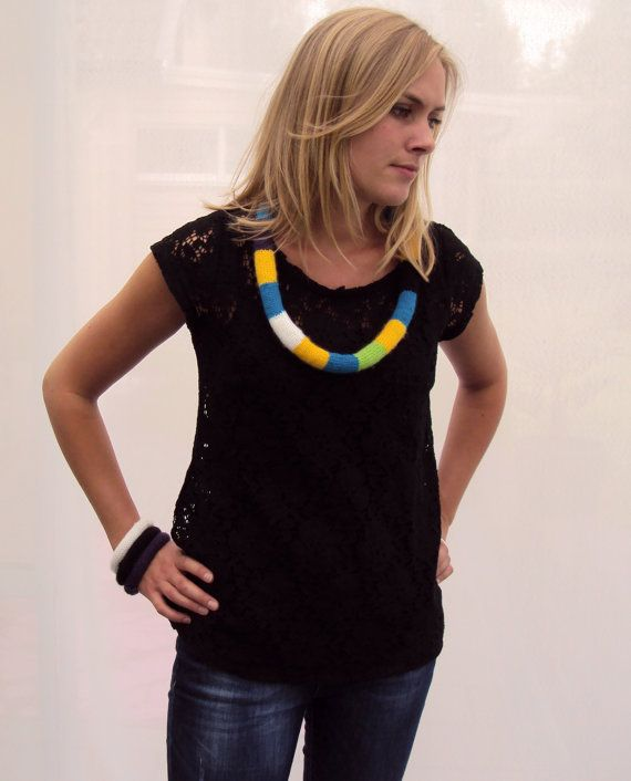 SALE  Knitted Striped Multicolor Yarn Necklace by MadeInHeda, kr250.00