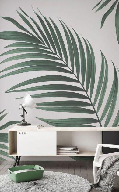Papier peint : tendance verte avec feuille et motif XXL mural