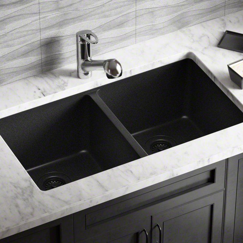 granite composite 32 l x 19 w double basin undermount kitchen sink rh pinterest com