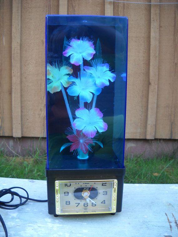 Vintage Fiber Optic Flower Light Lamp Color Changing Clock Flower Lights Flower Clock Multi Colored Flowers