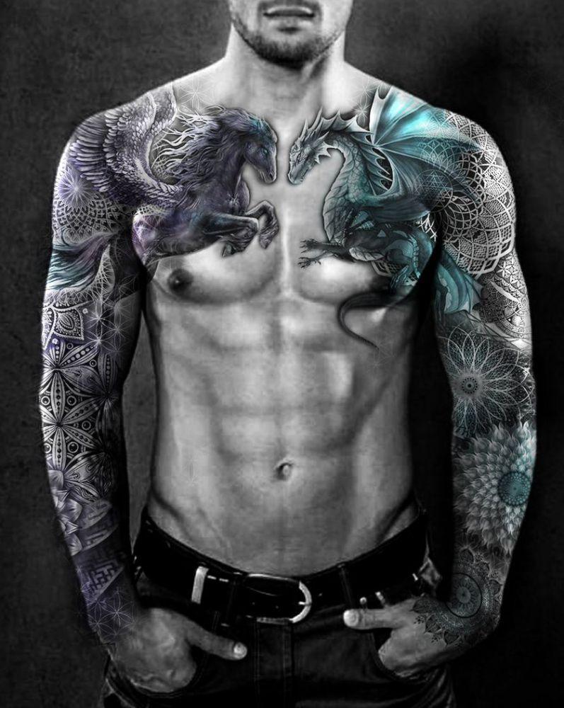 Pegaz I Smok Piękne Tatuaże Full Sleeve Tattoos Full Sleeve Tattoo Dragon Sleeve