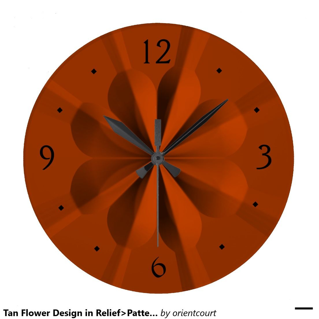 Tan Flower Design in Relief>Patterned Wall Clocks