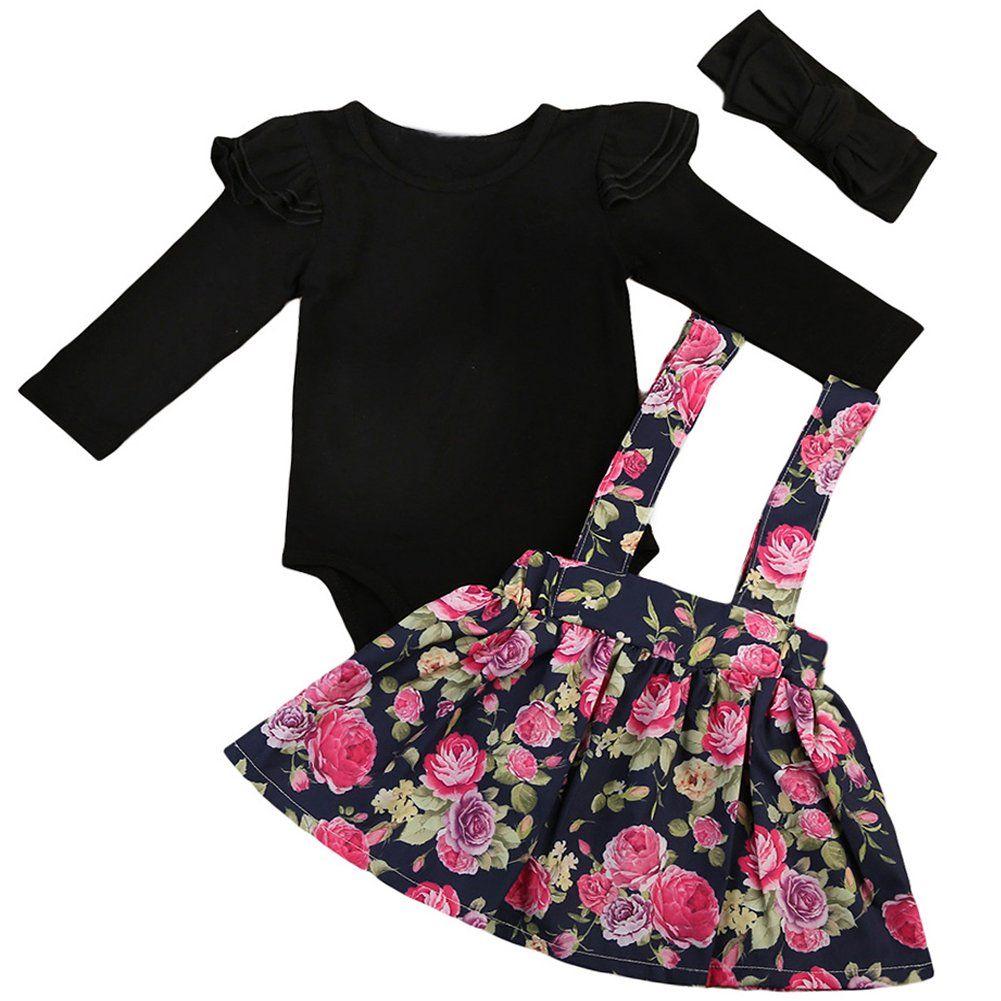 3Pcs Newborn Infant Baby Girl Romper Bodysuit Tops+Tulle Skirt Dress+Headband Outfits Clothes