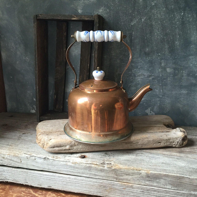 vintage copper tea kettle rustic copper tea pot with blue and white