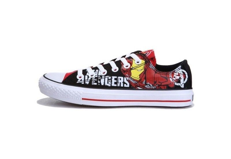 3f018a7dc576 Converse Shoes Black White Avengers- Iron Man Chuck Taylor All Star Classic  Canvas Lo Sneakers