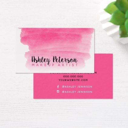 Neon Pink Watercolor Brushstroke Makeup Typography Business Card