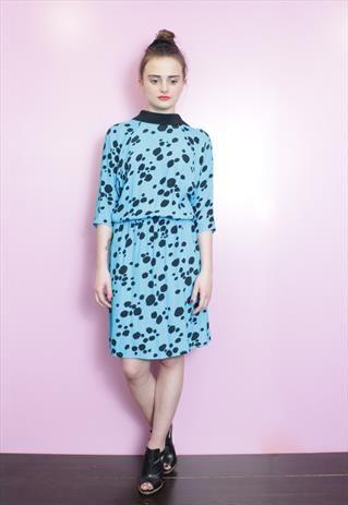 f32622b7b4 Vintage 1970 s Blue Dalmatian Print Dress with Collar