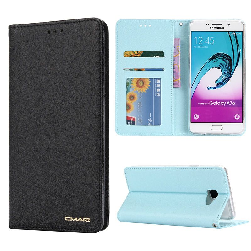 Zijde luxe magnetische flip boek stand kaarthouder case voor samsung galaxy a5 a7 a9 pro 2016 telefoon portemonnee cover coque capinha