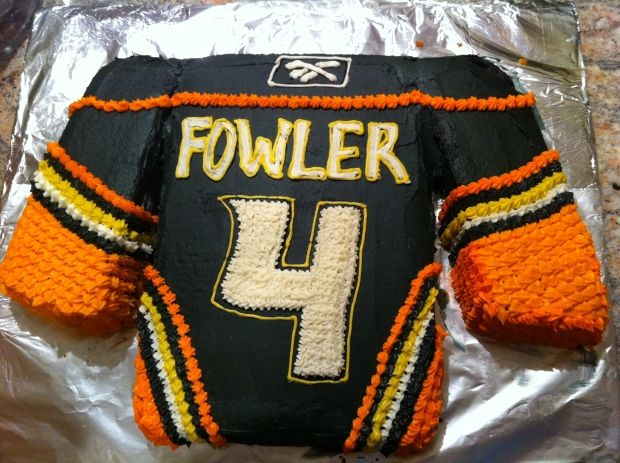 Cam Fowler's birthday cake, made by Lisa Niedermayer in Fowler's rookie year.
