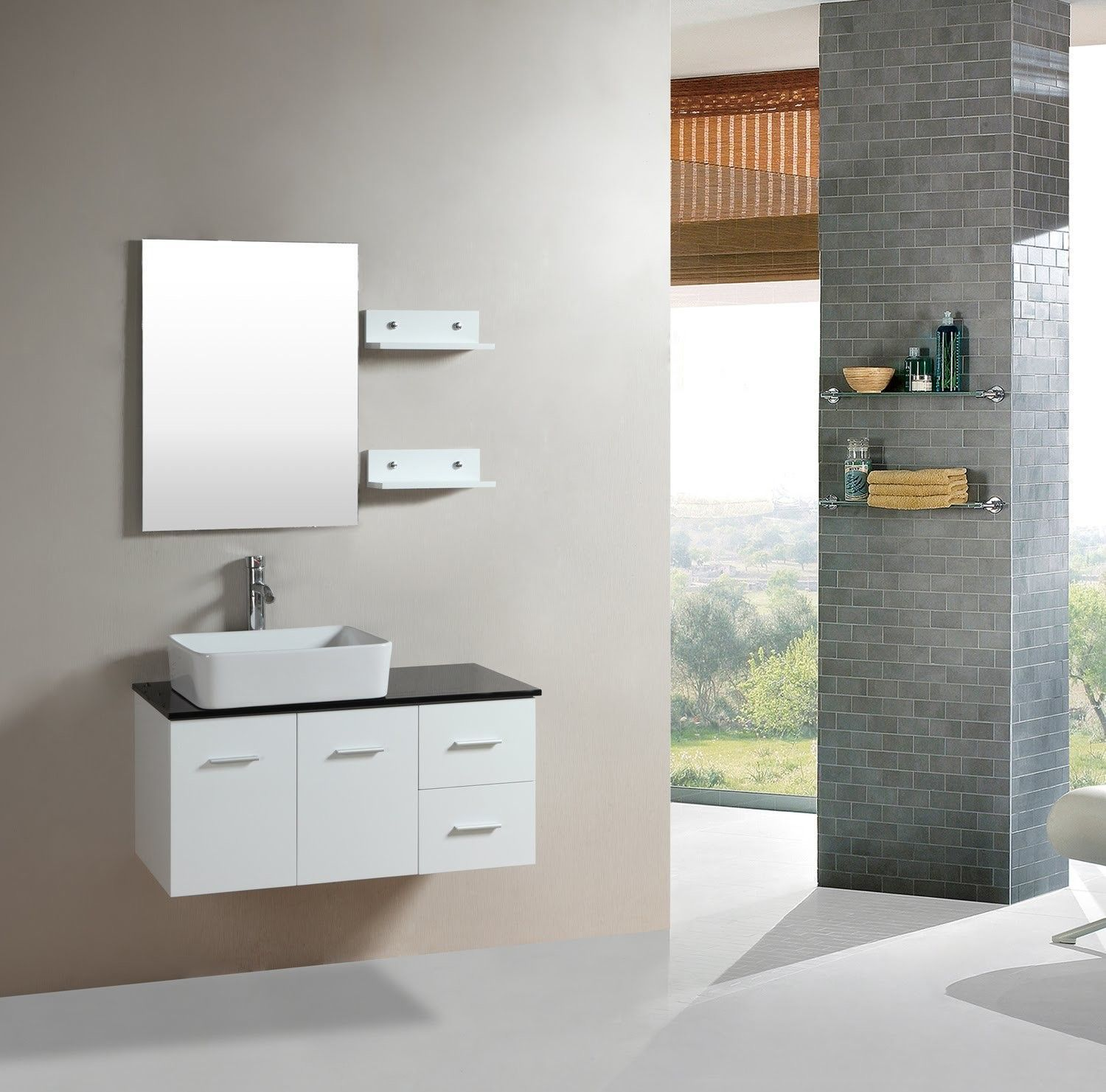 36 Wall Mounted Single Bathroom Vanity Set With Mirror Products