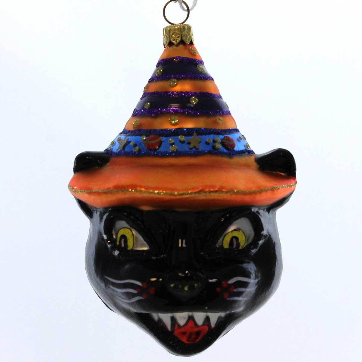 Halloween glass ornaments - Holiday Ornament Scary Black Cat Halloween Glass Ornament
