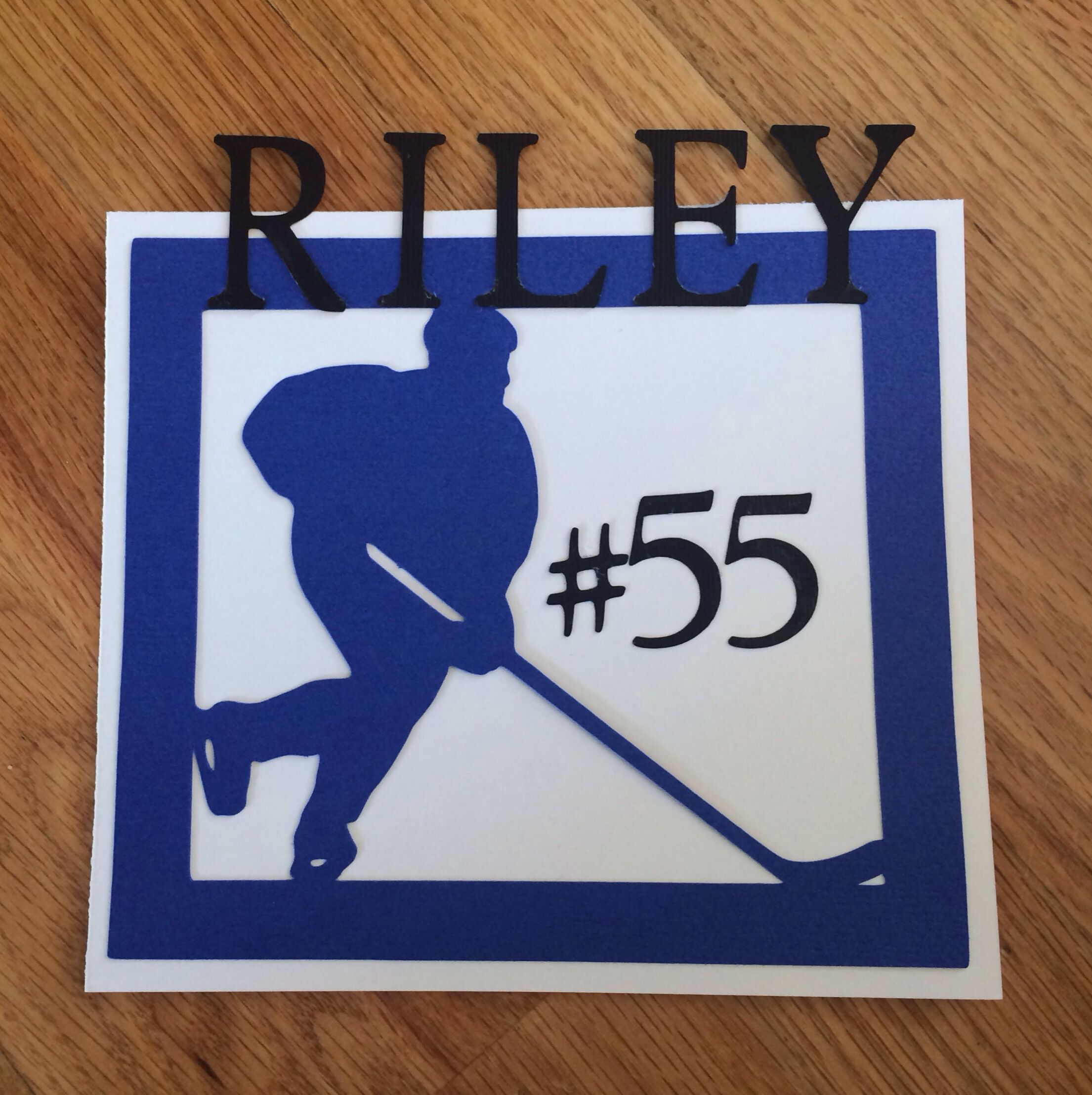 Hockey themed hotel door signs i made for our out of town for Hotel door decor