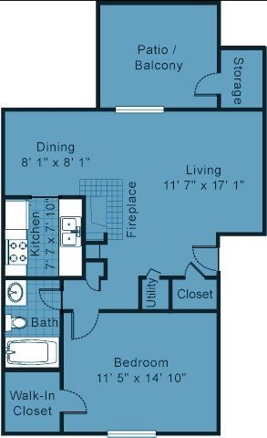 One bedroom apartment floor plan 700 sq ft of usable for Floor plans 700 square foot apartment