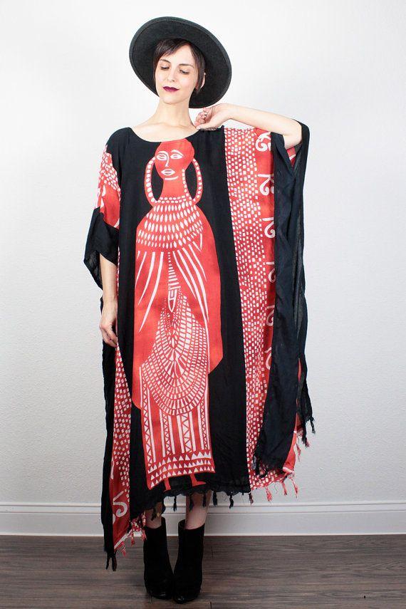977e8796430 Vintage Fringe Caftan Black White Red Tribal Print Hippie Kaftan 90s Boho  Hippie Dress Batik Festival