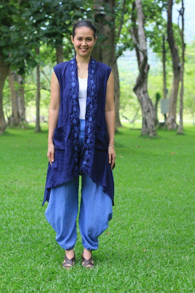Mouwloze shirts - M454- Nice wind (cotton outer with embroidery) - Een uniek product van giftbywish op DaWanda
