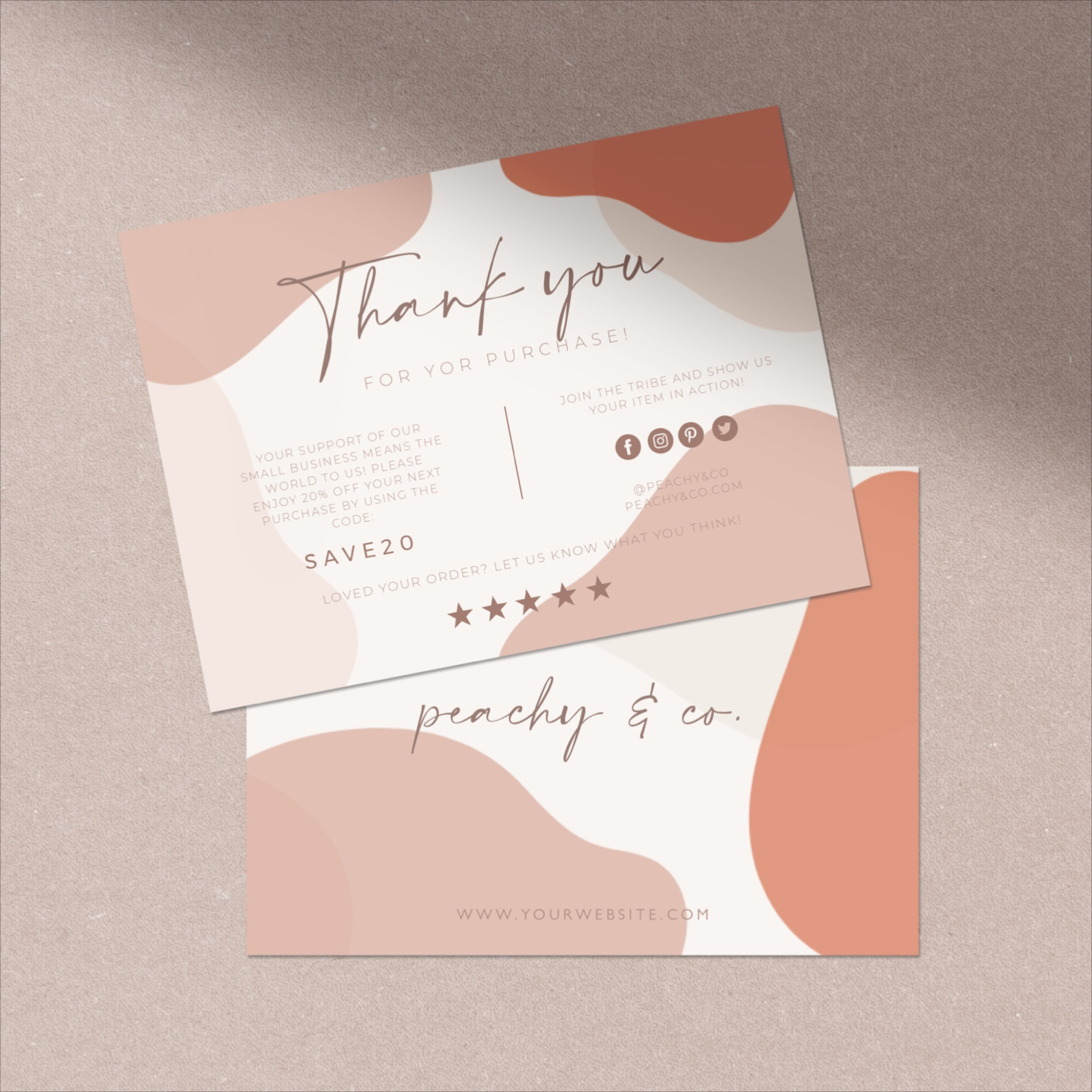 Abstract Modern Brown Blush Thank You Card Small Business Thank You Package Insert Thank You For Your Purchase Thank You Card Design Graphic Design Business Card Business Thank You Cards