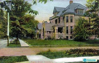 Galesburg Postcard Post Card Prairie Street Galesburg Il