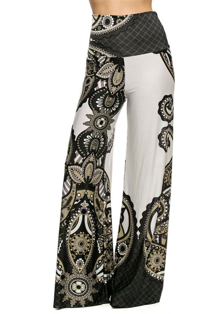 High Waist Fold Over Wide Leg Gaucho Palazzo Pants (White Sands) – Niobe Clothing