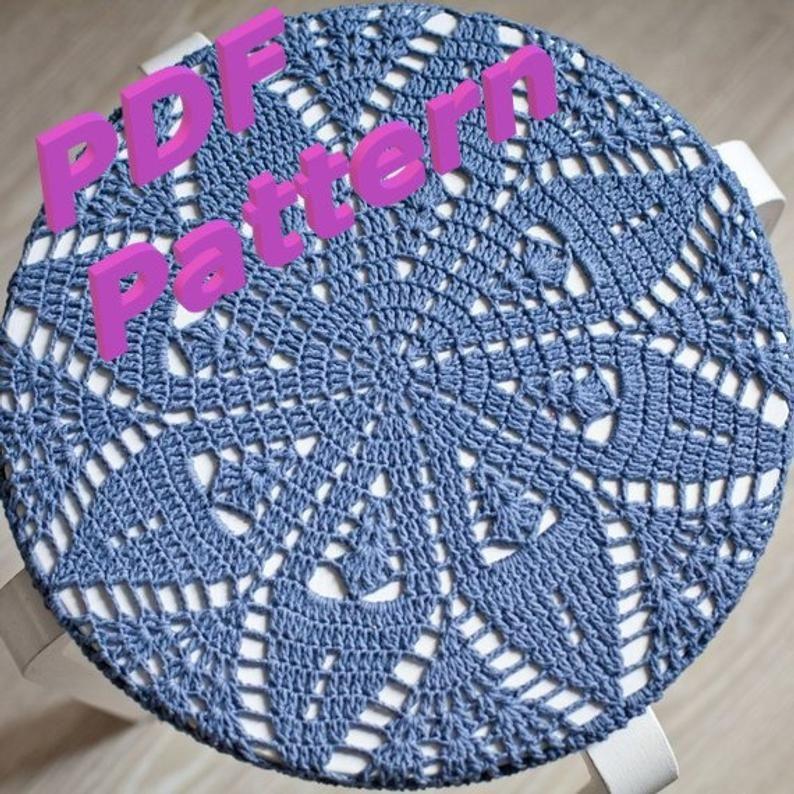 Crochet chart patterns to print knit chair stool cushion